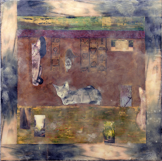 Eternal Reflection, 30x30 collage with encaustic $850.