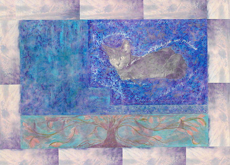 Lemuria 30x40 collage with encaustic NFS