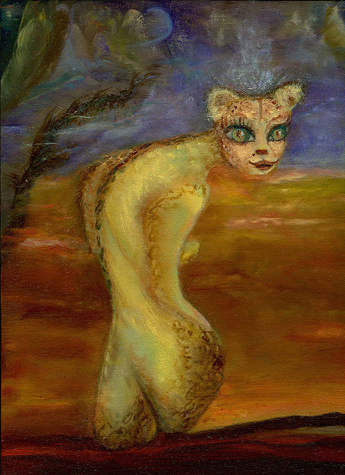 Feminine in the Feline #1 9x12 oil on canvas $650.00